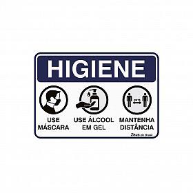 Placa Higiene Máscara / Gel / Distância 35x25cm PVC