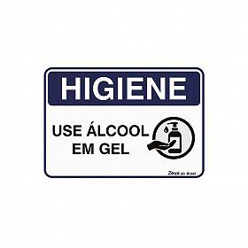 Placa Higiene Uso Álcool Gel 35x25cm PVC