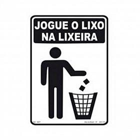 Placa jogue o lixo na lixeira de PVC 23,5 x 32,5cm