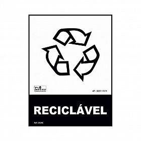 Placa lixo reciclável reciclável de PVC 15 x 20cm