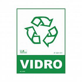 Placa lixo reciclável vidro de PVC 15 x 20cm