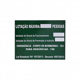 Placa lotação máxima com lei do bombeiro de Santa Catarina de PVC 50 x 40 cm