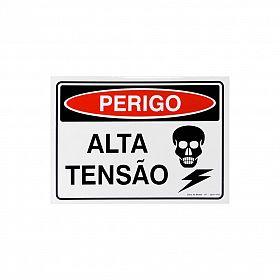 Placa perigo alta tensão de PVC 35 x 25cm