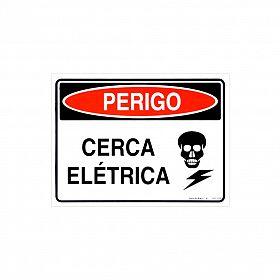 Placa perigo cerca elétrica de PVC 24 x 18cm