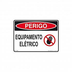 Placa perigo equipamento elétrico de PVC 24 x 18cm