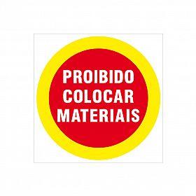 Placa proibido colocar materiais de PVC 20 x 20cm