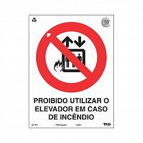 Placa proibido utilizar o elevador de PVC 15 x 20cm