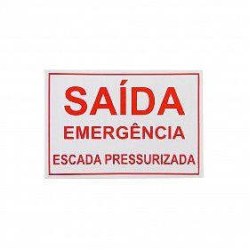 Placa saída emergência escada pressurizada de PVC 29 x 20cm
