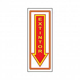 Placa seta extintor de PVC 15 x 37,5cm