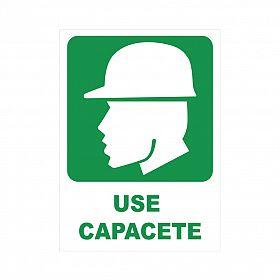 Placa use capacete de PVC 23,5 x 32,5cm