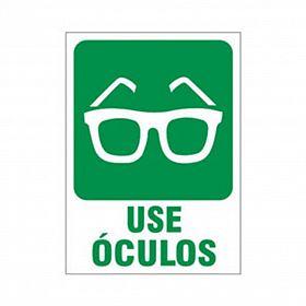Placa use óculos de PVC 23,5 x 32,5cm