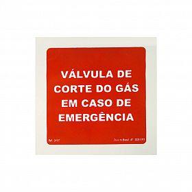 Placa válvula corte do gás em caso de emergência de PVC 15 x 15cm