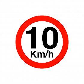 Placa velocidade máxima 10km/h de PVC 40 x 40cm