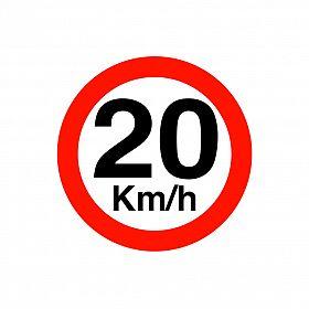 Placa velocidade máxima 20km/h de PVC 40 x 40cm